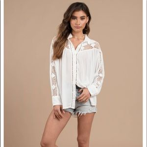 Free People crochet button down shirt